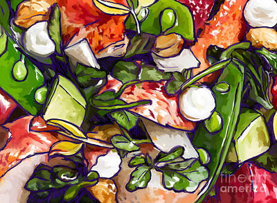 Painting - Lobster-salad2 by Tim Gilliland