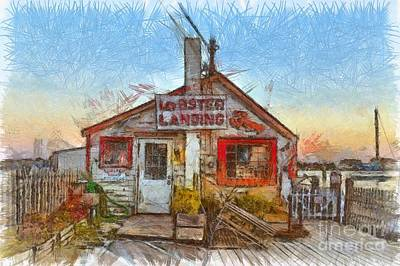 Lobster Shack Pencil Art Print by Edward Fielding