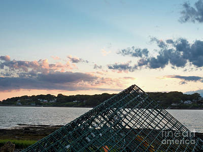 Photograph - Lobster Trap At Dusk, Bailey Island, Harpswell, Maine #252412-14 by John Bald
