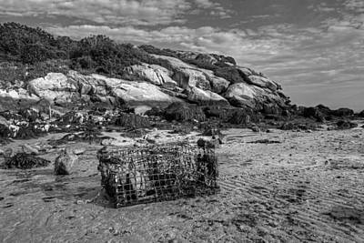 Photograph - Lobster Trap On Salt Island Good Harbor Beach Gloucester Ma Black And White by Toby McGuire