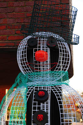 Photograph - Lobster Trap Snowman by Mike Martin