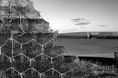 Lobster Traps And Cribstone Bridge Art Print