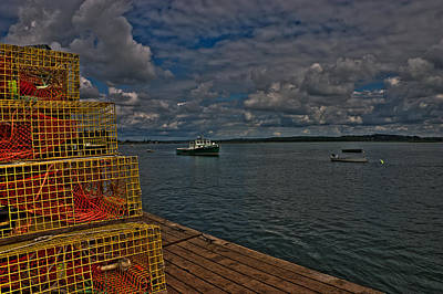 Lobster Traps On The Dock Art Print by David Bishop