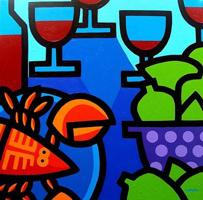 Bottle Painting - Lobster Wine And Limes by John  Nolan