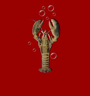 Lobster With Bubbles T Shirt Design Art Print by Bellesouth Studio