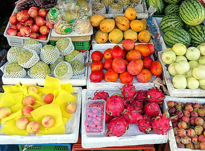 Photograph - Local Fruit Stall In Taiwan by Yali Shi