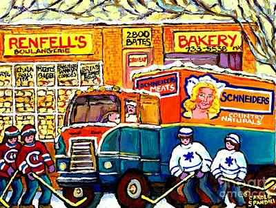 Hockey Fans Painting - Local Kosher Bake Shop Montreal Memories Hockey Art Winter Scene Deli Truck Canadian Art C Spandau   by Carole Spandau