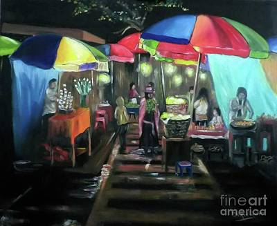Thai Artist Artists Painting - Local Thai Market At Night by Derek Rutt