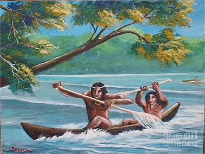 Painting - Locals Rowing In The Amazon River by Jean Pierre Bergoeing