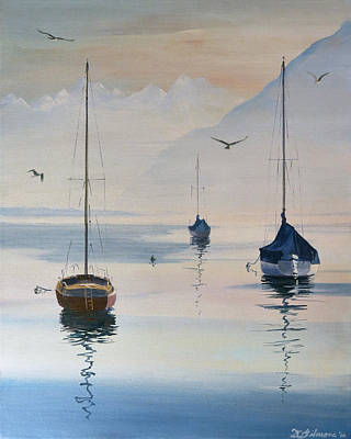 Painting - Locarno Boats In February-2 by David Gilmore
