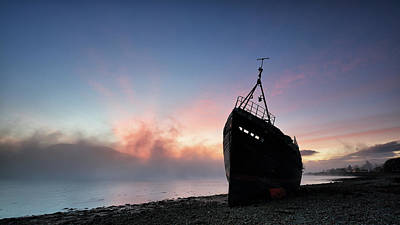 Art Print featuring the photograph Loch Linnhe Misty Shipwreck by Grant Glendinning