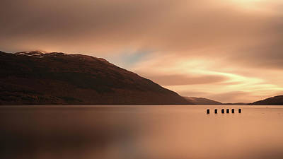 Scottish Landscape Photograph - Loch Lomond Golden Sunset by Maria Gaellman