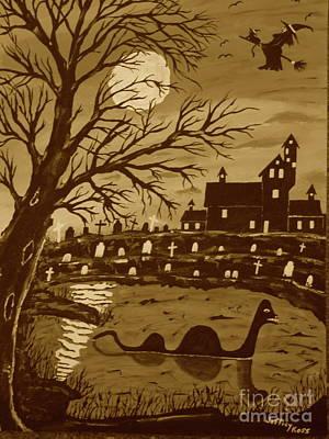 Loch Ness Monster On Halloween Art Print by Jeffrey Koss