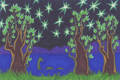 Earth Star Drawing - Loch Ness Night by James Davidson