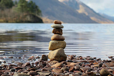 Vintage Diner Cars Royalty Free Images - Loch Shiel Stacked Stones Royalty-Free Image by Holly Ross