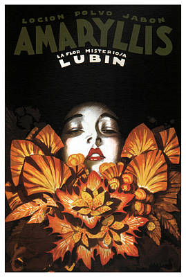 Mixed Media - Locion Polvo Jabon Amaryllis - Vintage Lotion Advertising Poster by Studio Grafiikka