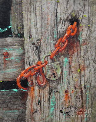 Wax Resist Painting - Lock And Chain by Sarah Luginbill