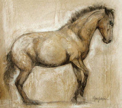 Horse Art Painting - Lock And Load by Mary Leslie