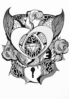Drawing - Locked Heart Surrounded By Roses Drawing by Kenal Louis