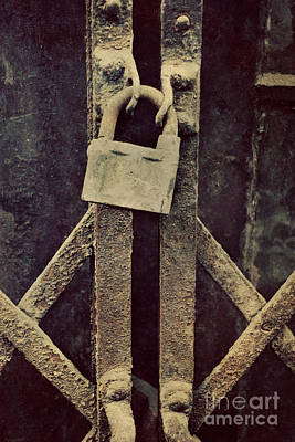 Locked Rusty Door Art Print by Mythja Photography