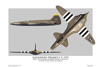 Digital Art - Lockheed L-133 Three View by John Matthews
