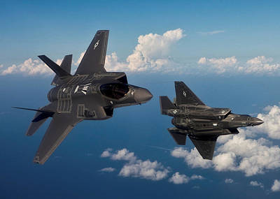 Lockheed Martin F-35 Lightening II Joint Strike Fighters During Military Exercises In A Forward Area Art Print