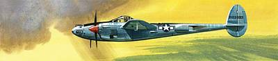 Airplane Painting - Lockheed P-38j Lightning by Wilf Hardy