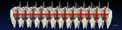 Page Bridge Digital Art - Locking Shields Angels Army by Jennifer Page
