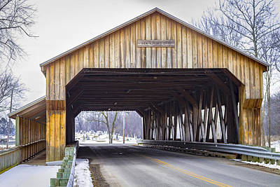 Music Royalty-Free and Rights-Managed Images - Lockport Covered Bridge  by Jack R Perry