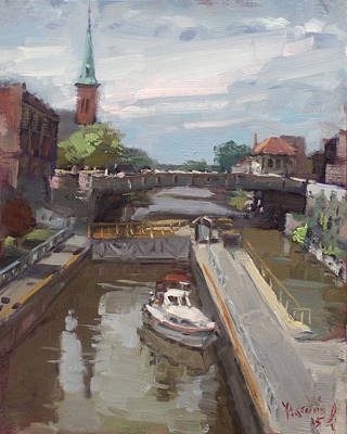 Lock Painting - Lockport Locks by Ylli Haruni