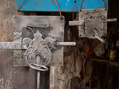 Moroccan Photograph - Locks As Advertisement For Artisan by Panoramic Images