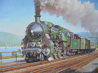 Lakeside Painting - Loco By The Lake. by Mike Jeffries