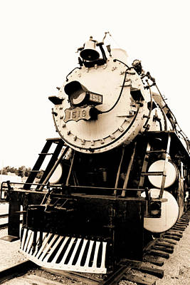 Photograph - Locomotive 1519 - Vintage Water Paper 02 - Bw by Pamela Critchlow