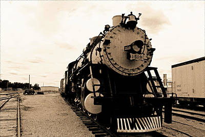 Photograph - Locomotive 1519 - Vintage Water Paper 03 - Bw by Pamela Critchlow