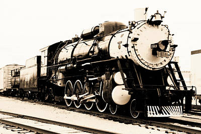 Photograph - Locomotive 1519 - Vintage Water Paper - Bw by Pamela Critchlow