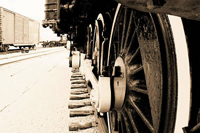 Photograph - Locomotive 1519 - Wheels 02 - Vintage Water Paper - Bw by Pamela Critchlow