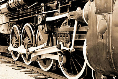 Photograph - Locomotive 1519 - Wheels - Vintage Water Paper - Bw by Pamela Critchlow