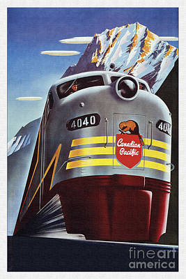 Beaver Mixed Media - Locomotive Canadian Pacific 4040 by R Muirhead Art