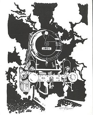 Drawing - Locomotive by Jacki Randall