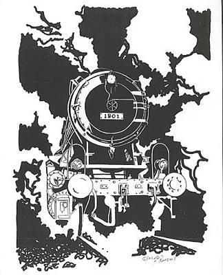 Nostalgia Drawing - Locomotive by Jacki Randall