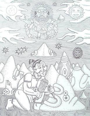 Taino Drawing - Locuo by Jose Guerrido jr