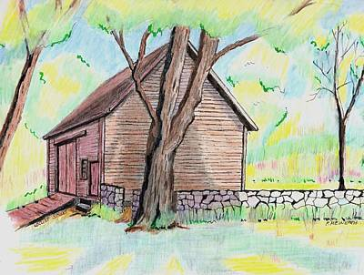Old Barn Drawing - Locust Street Ild Barn by Paul Meinerth