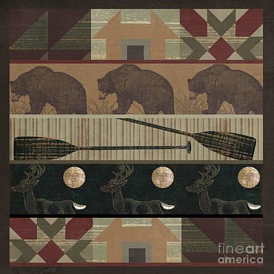 Log Cabin Painting - Lodge Cabin Quilt by Mindy Sommers