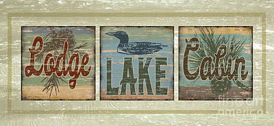 Lodge Lake Cabin Sign Art Print by Joe Low