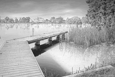 Photograph - Lodi Lake Dock B And W by Joyce Dickens