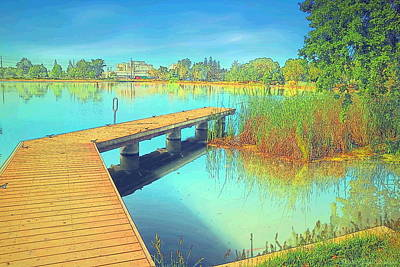 Photograph - Lodi Lake Dock Watercolor by Joyce Dickens