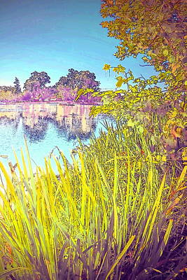 Photograph - Lodi Lake Watercolor Two by Joyce Dickens