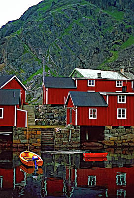Lofoten Fishing Huts Oil Art Print by Steve Harrington