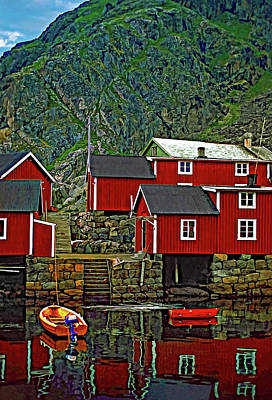 Lofoten Fishing Huts Art Print by Steve Harrington