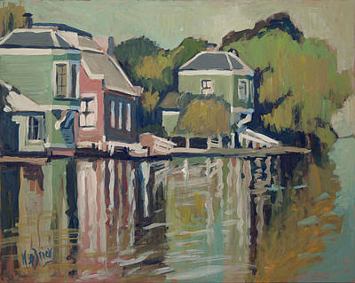 Painting - Lofts Along The River Zaan In Zaandam by Nop Briex
